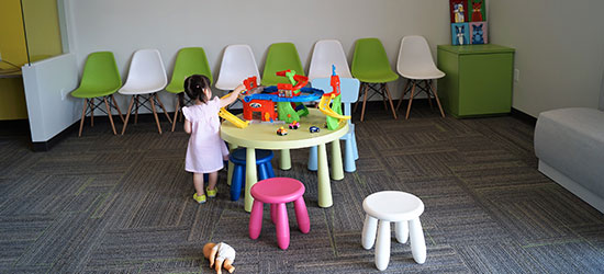 Playroom with toys for patients